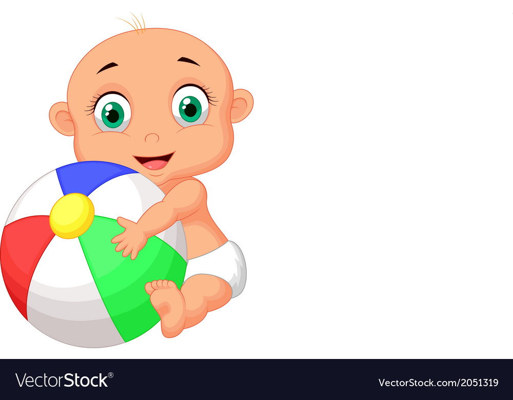 Cute baby cartoon holding colorful ball.