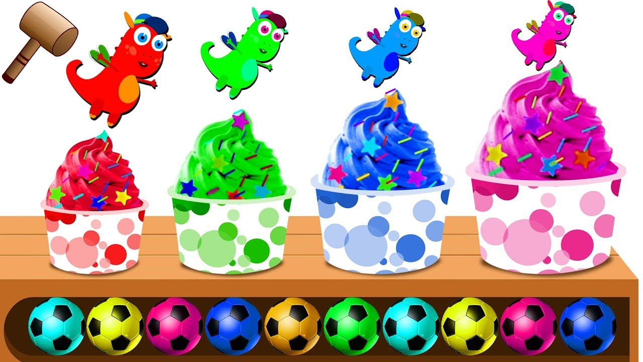 Baby Dragons Playing with Color Soccer Balls and Stars on Wooden Xylophone.