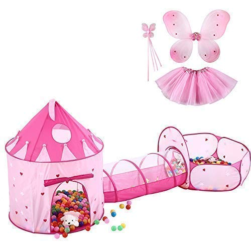 Kids Castle Play Tent with Tunnel Tube & Ball Pit for Kids.