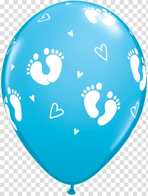 Mylar balloon Baby shower Party Infant, baby footprints.