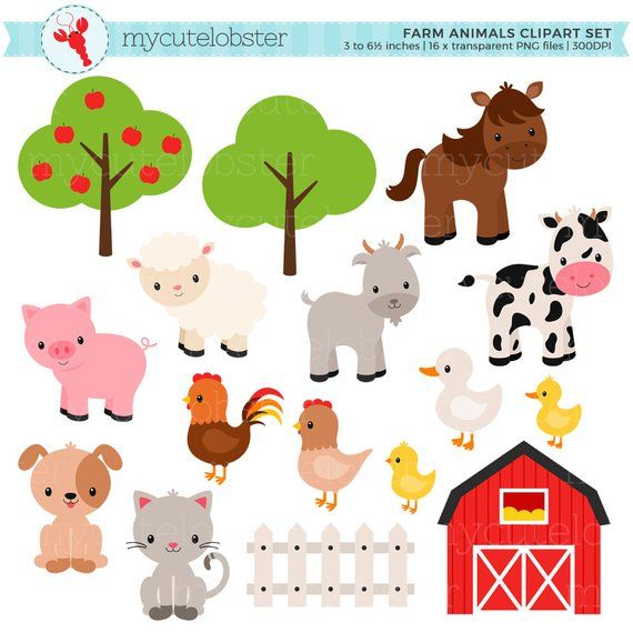 Farm Animals Clipart Set.