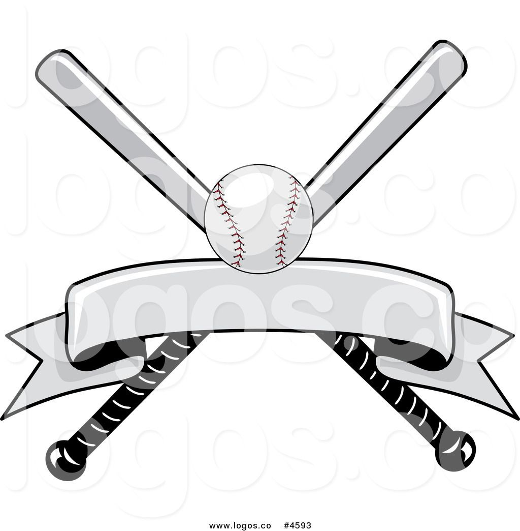 Royalty Free Baseball Bat and Ball with Blank Banner Logo.