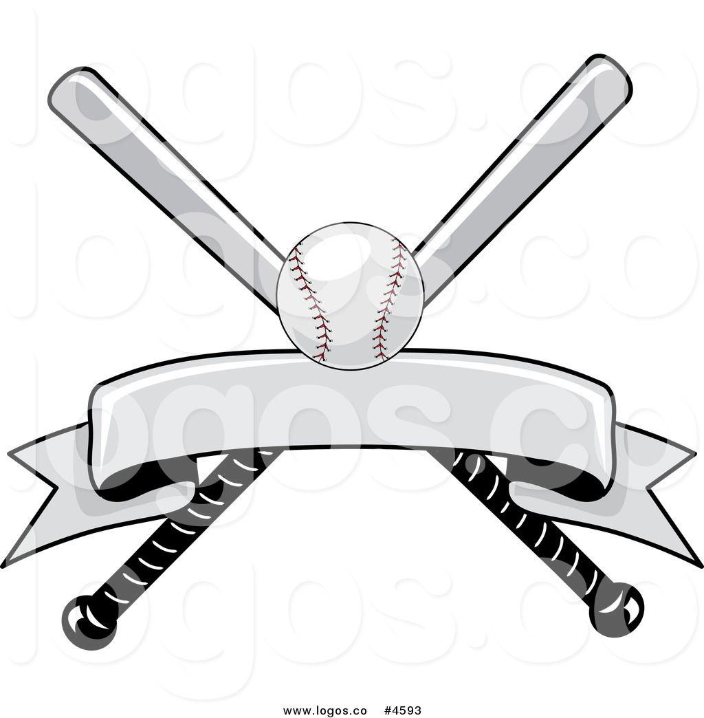 Royalty Free Baseball Bat and Ball with Blank Banner Logo.