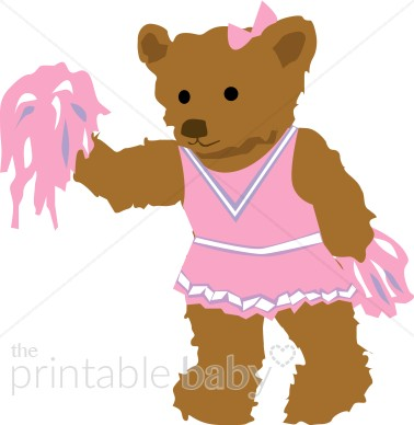 Teddy Bear Cheerleader Clipart.