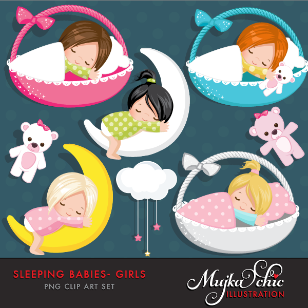 Sleeping Babies in baby baskets Clipart Instant Download.
