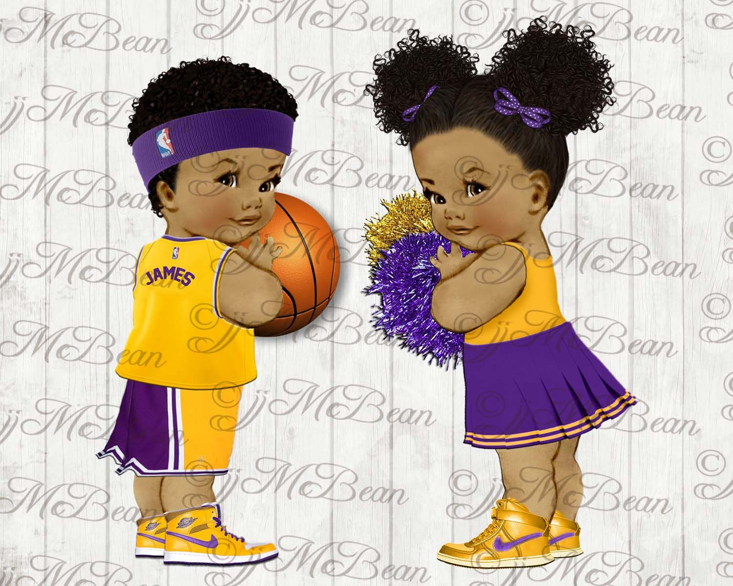 LA Lakers Baby Shower clipart.