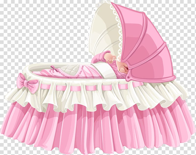 White and pink bassinet illustration, Infant bed Child.