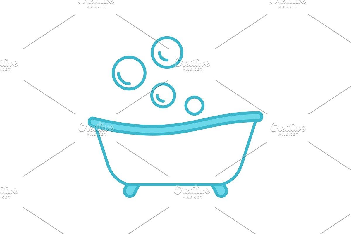 Baby bathtub color icon.
