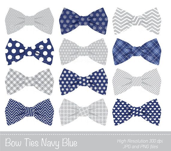 Bow Ties Clipart, Bowtie Clip art, Navy Blue, Grey, Personal.