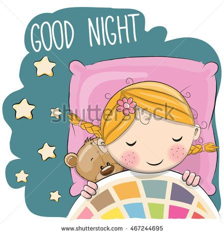 Cute Cartoon Sleeping Girl with teddy bear in a bed.