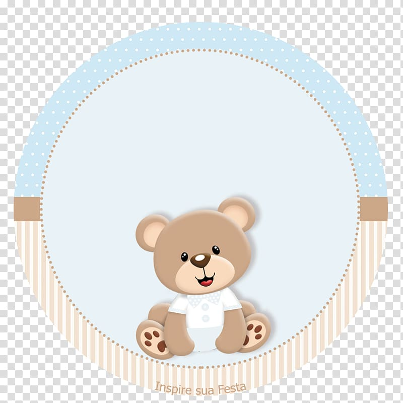 Brown teddy bear illustration, Baby shower Convite Party.