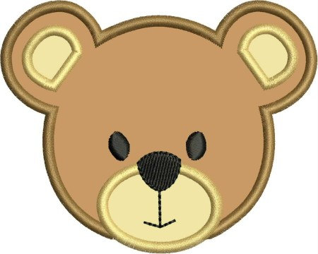 INSTANT DOWNLOAD Bear Face Applique designs 3 sizes.