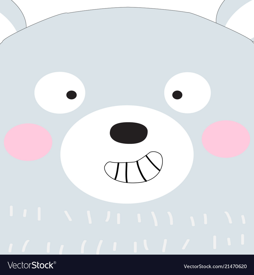 Cute baby teddy bear face cartoon.