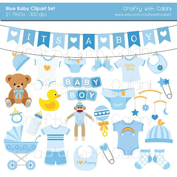 Baby Boy Clipart, Boy Baby Shower clipart, Instant Download.