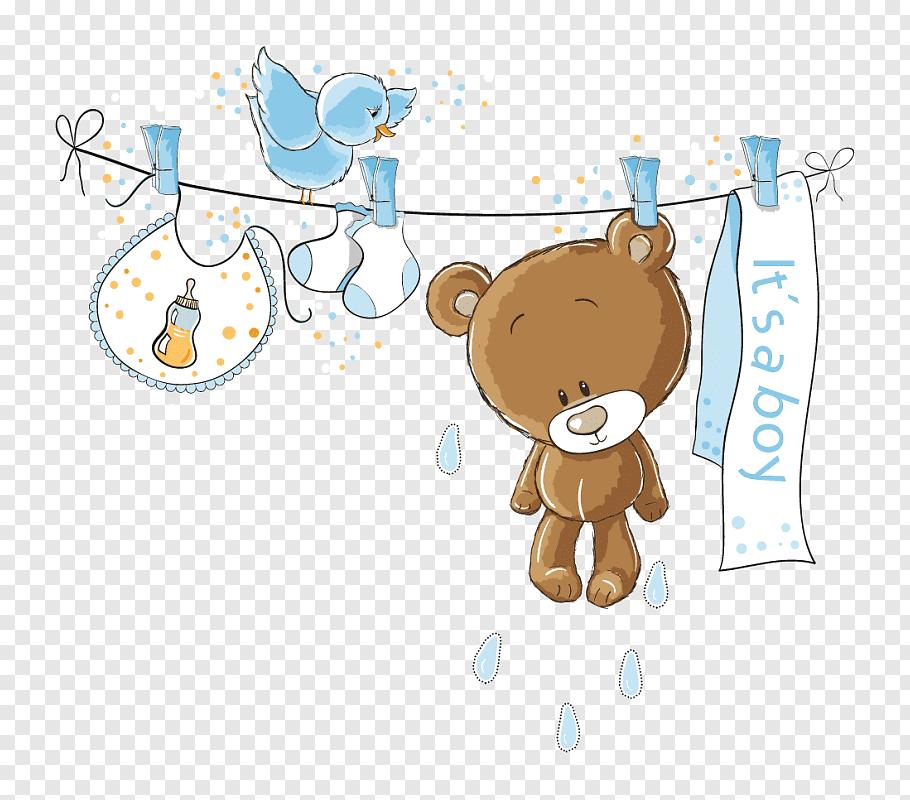 Bear hanging on rope illustration, Wedding invitation Baby.