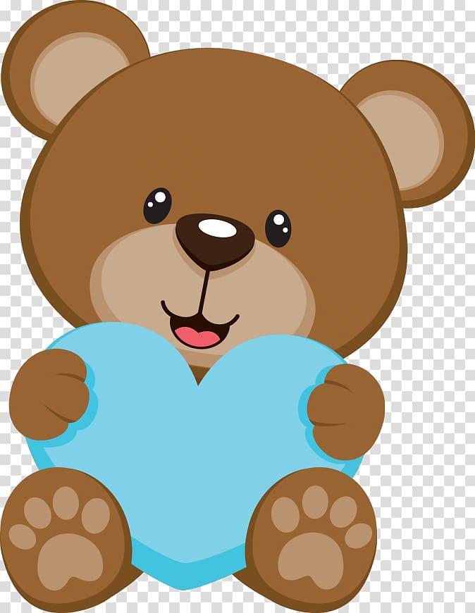 Bear holding heart illustration, Teddy bear Baby shower.