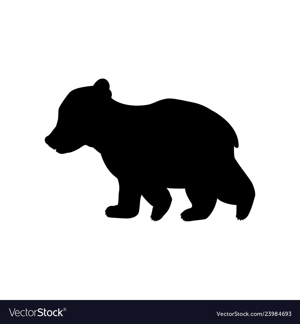Bear cub wild black silhouette animal.