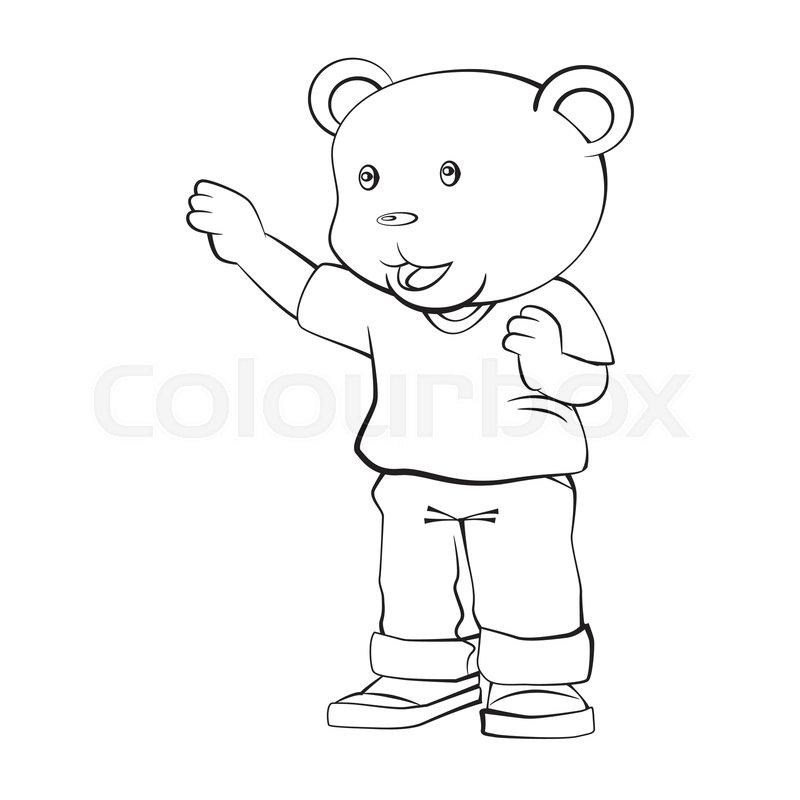 Adorable Cartoon, Boy Bear Standing.