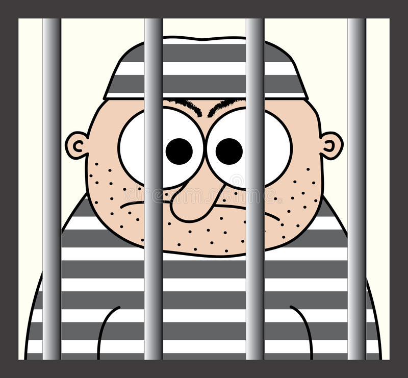 Cartoon Prisoner Behind Bars Stock Illustration.