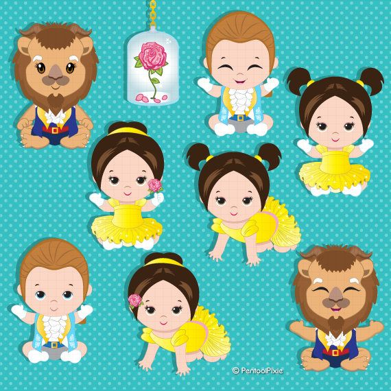 Baby Belle clipart, Beauty and the beast, Baby shower.