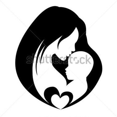 Mother Kissing Her Child, Isolated Vector Symbol stock vector.