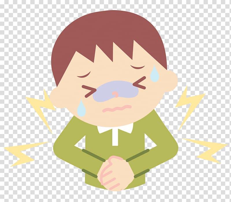 Man holding stomach illustration, Abdominal pain Cartoon.