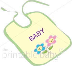 Baby Bib with Smiling Flowers Clipart.