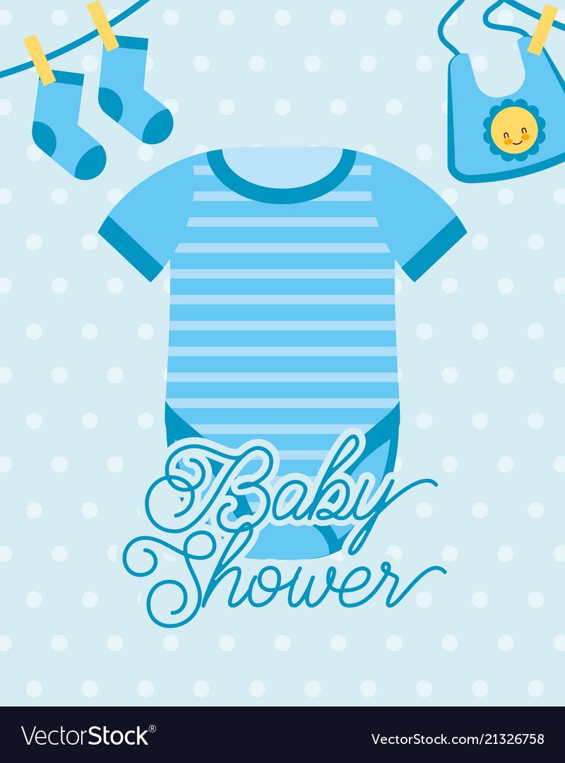 Blue bodysuit and socks bib baby shower card.