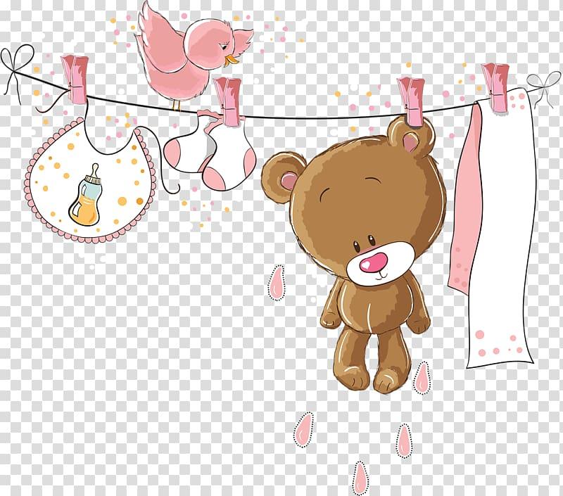 Hanging brown bear, bib, socks, and bird illustration, Baby.