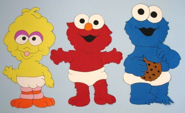 Baby Elmo Big Bird Cookie Monster Sesame Street Custom Hand Painted.