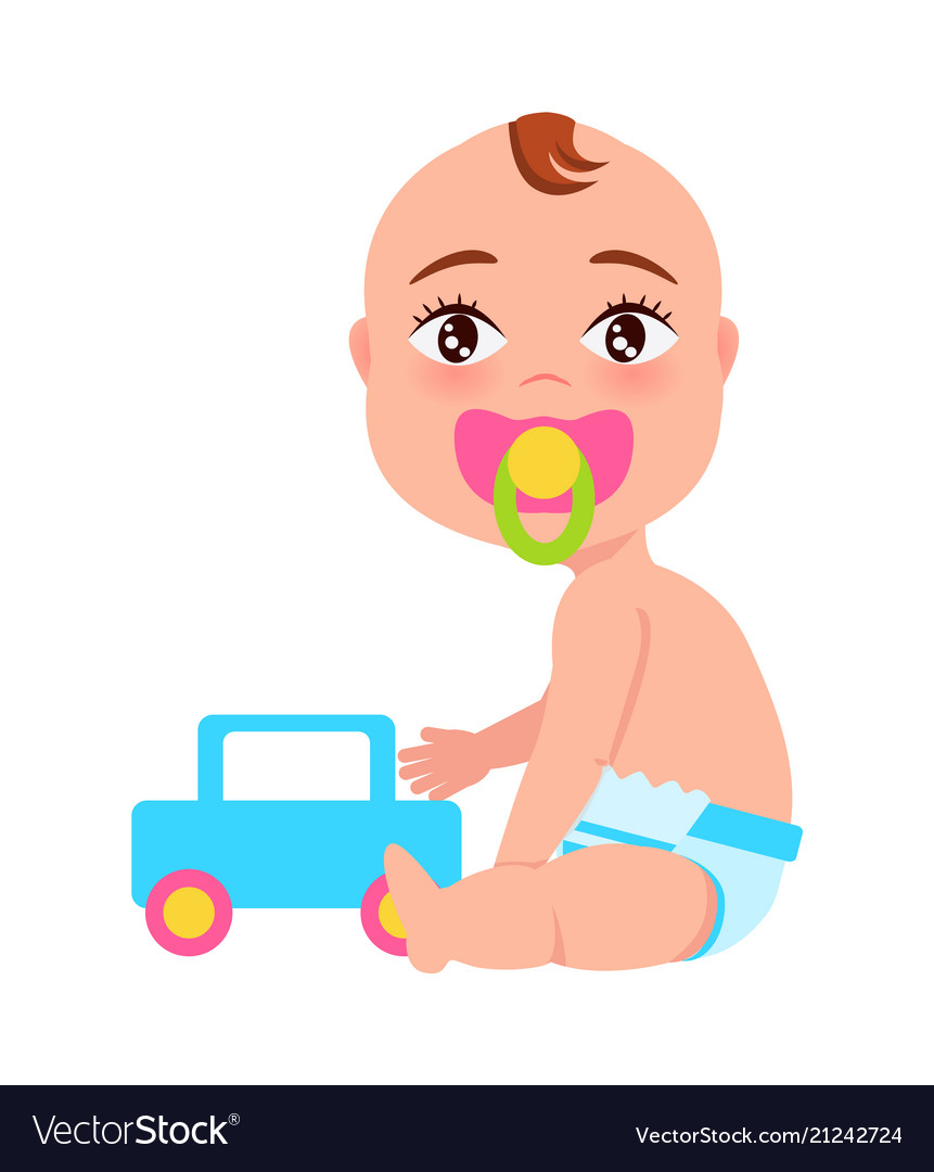 Baby with soother and toy car.