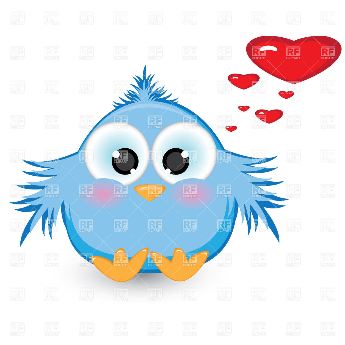 Shy baby bird in love Stock Vector Image.