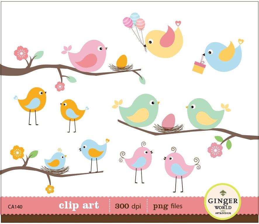 Spring birds eggs nest clipart digital file illustration for.