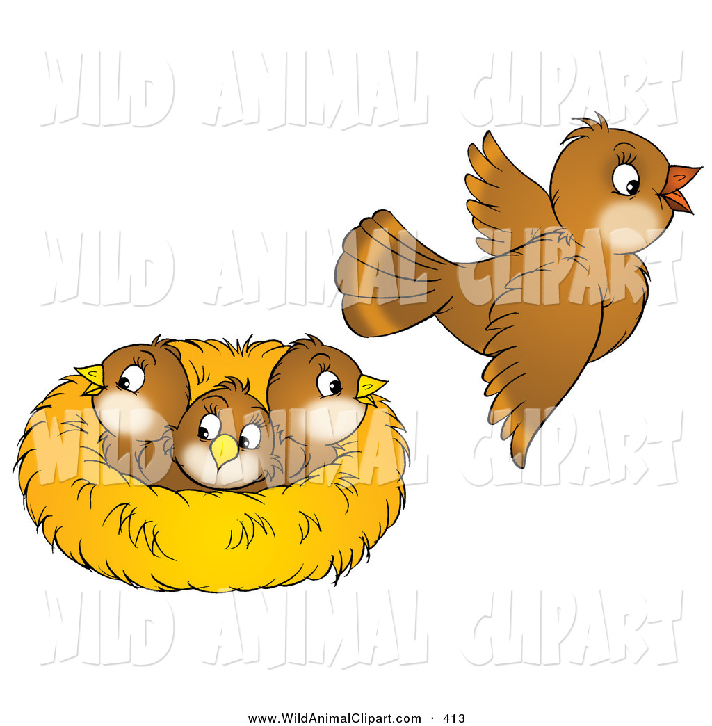 Clip Art of a Cute Brown Bird Flying Away from a Nest with.