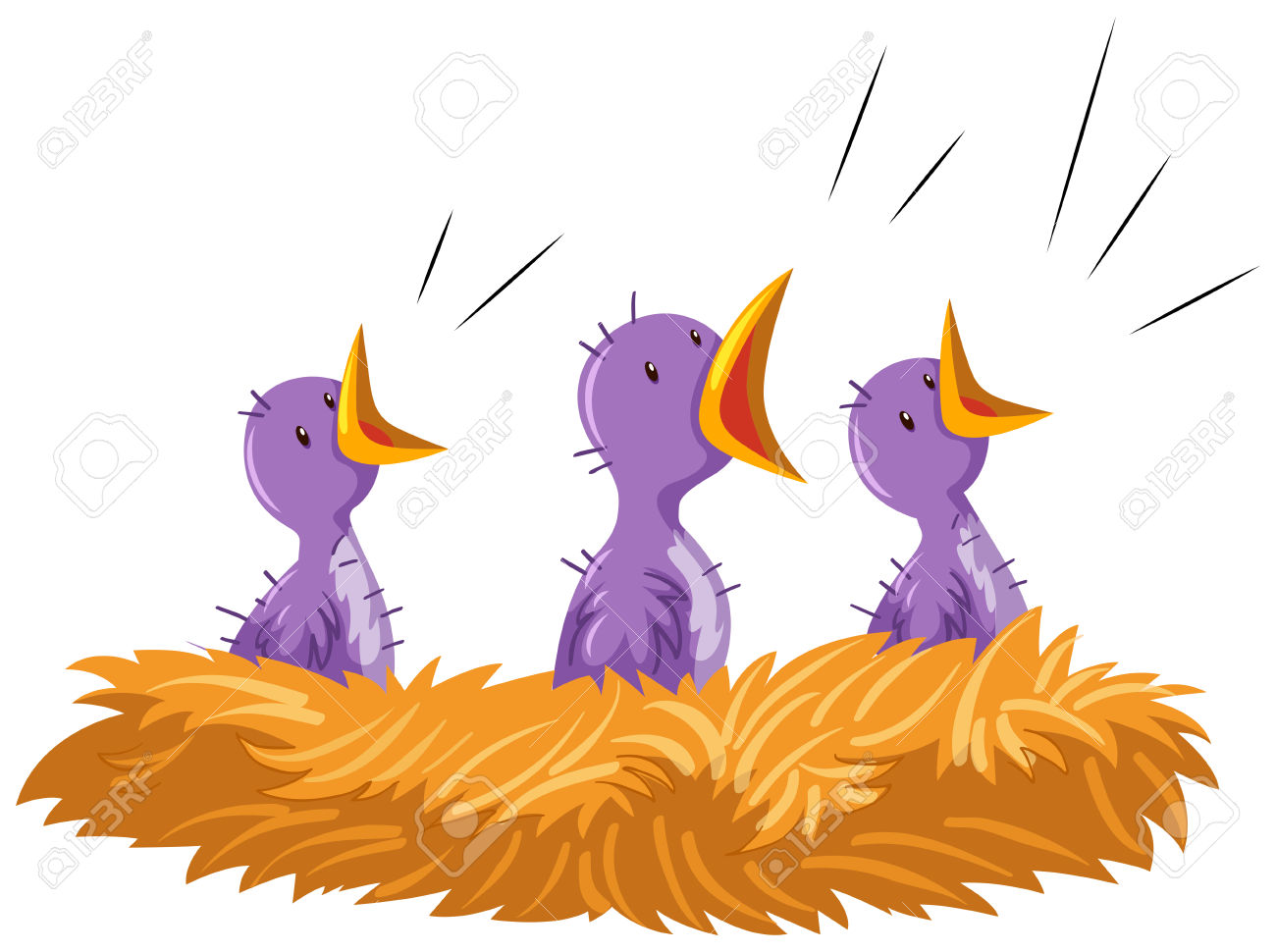 Three Baby Birds In Nest Illustration Royalty Free Cliparts.