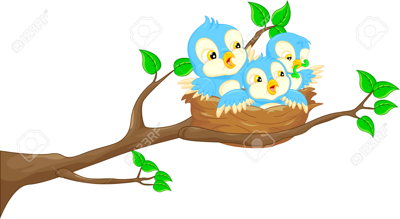 Flying Bird And Baby Bird In The Nest Royalty Free Cliparts.