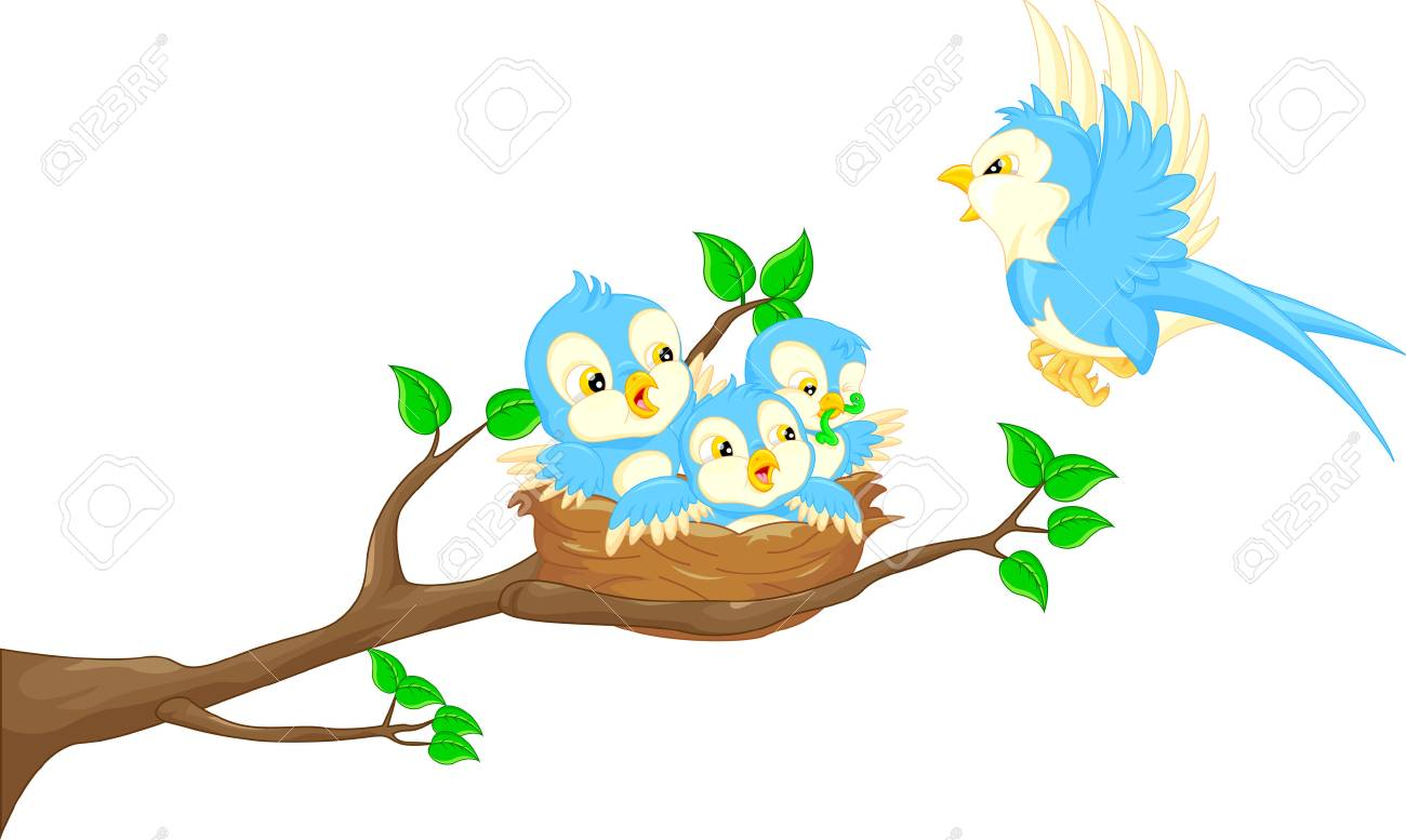 Flying bird and baby bird in the nest.