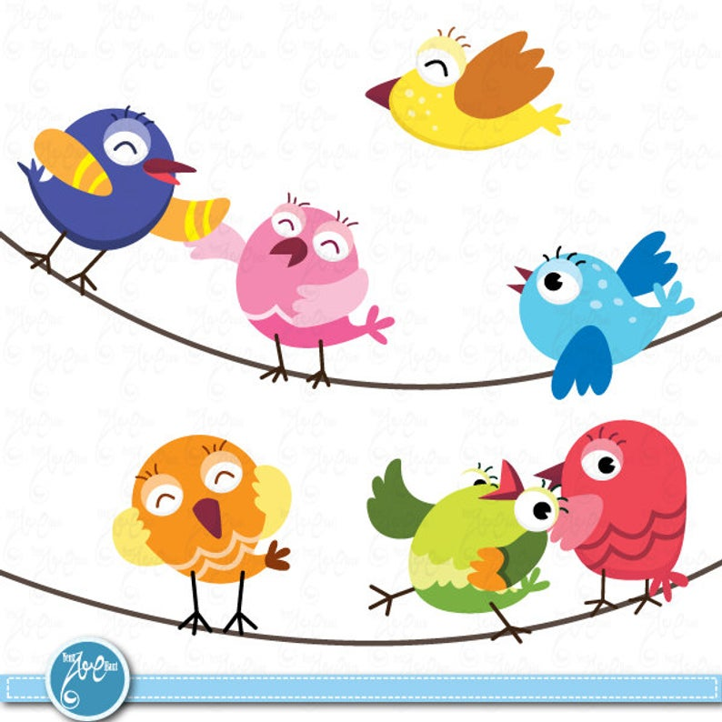 Birds Clip Art , Cute baby birds, Birds design element perfect for  Scrapbook, Cards, Invitations,Personal and Commercial Use Am009.