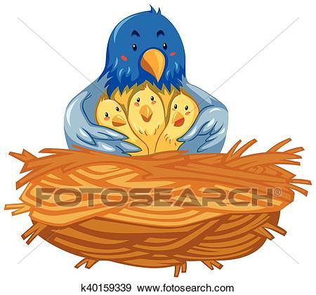 Mother bird and babies birds in nest Clip Art.