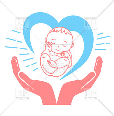 Concept of birth of child, baby in hands Vector Image.