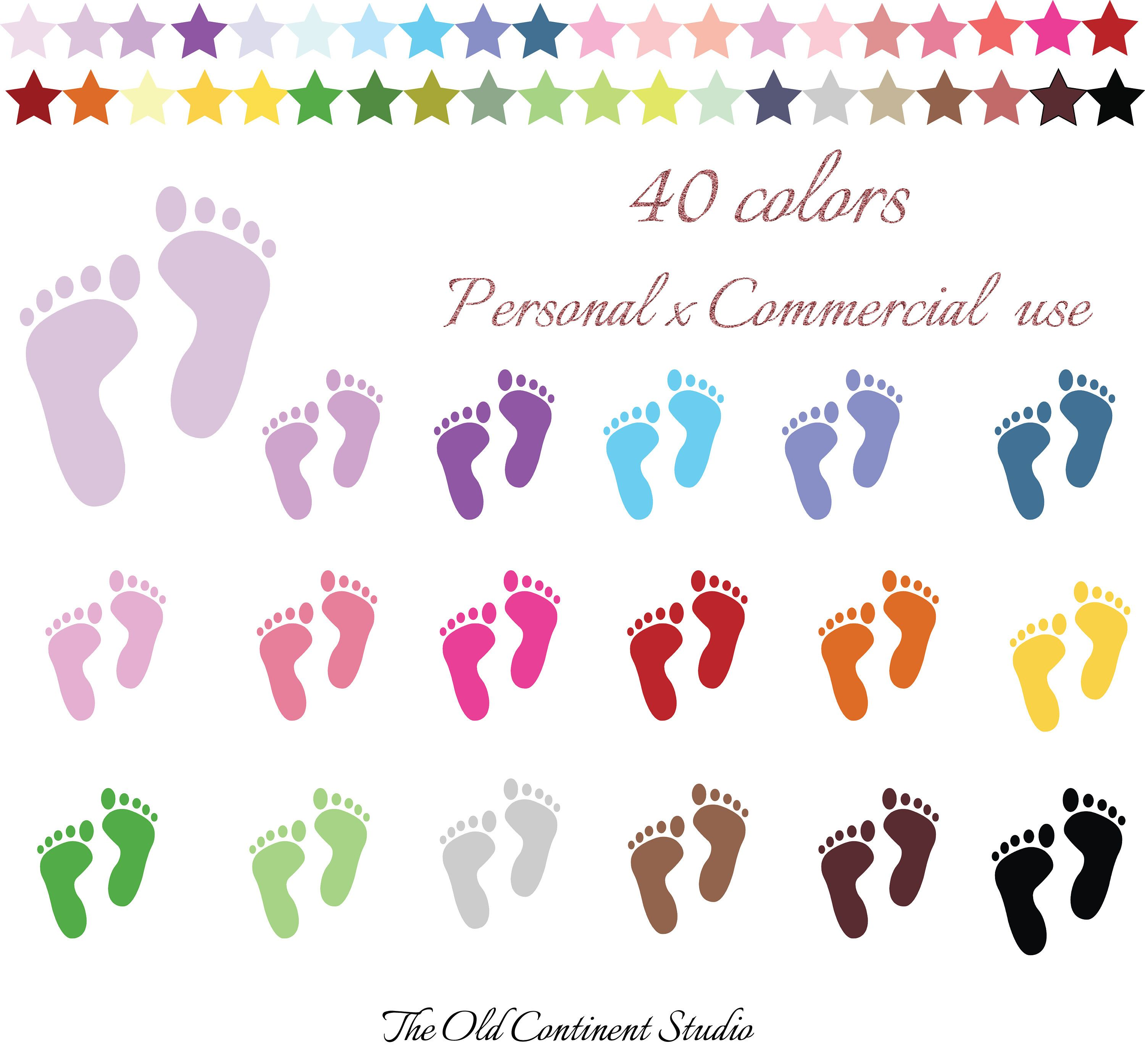 100 Colors Clip Art, 100 Baby Steps Clipart, Baby Foot.