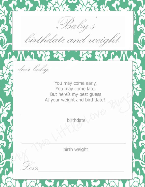 Guess baby's birthdate and weight baby shower printables.