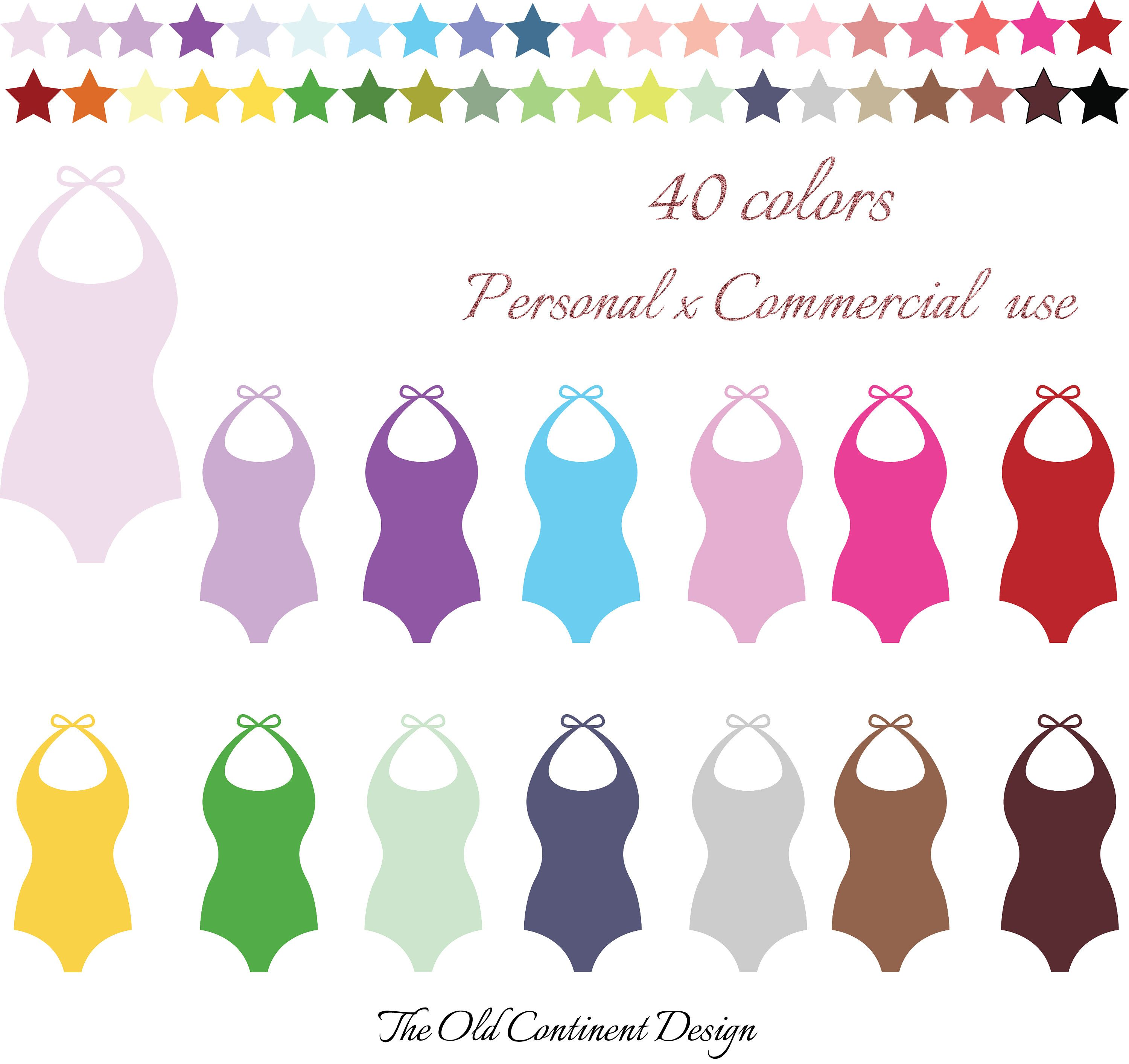 100 Colors Clip Art, 100 Swimsuit Clipart, Swimming pool.
