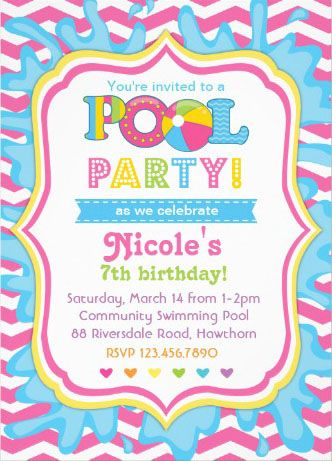 Girl\'s Pool Party Invitations. A breeze to customize.