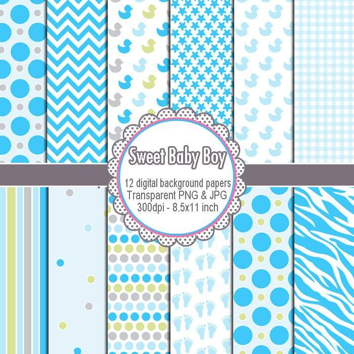 Boy Boy Shower Clip Art Digial Background Papers Clipart.