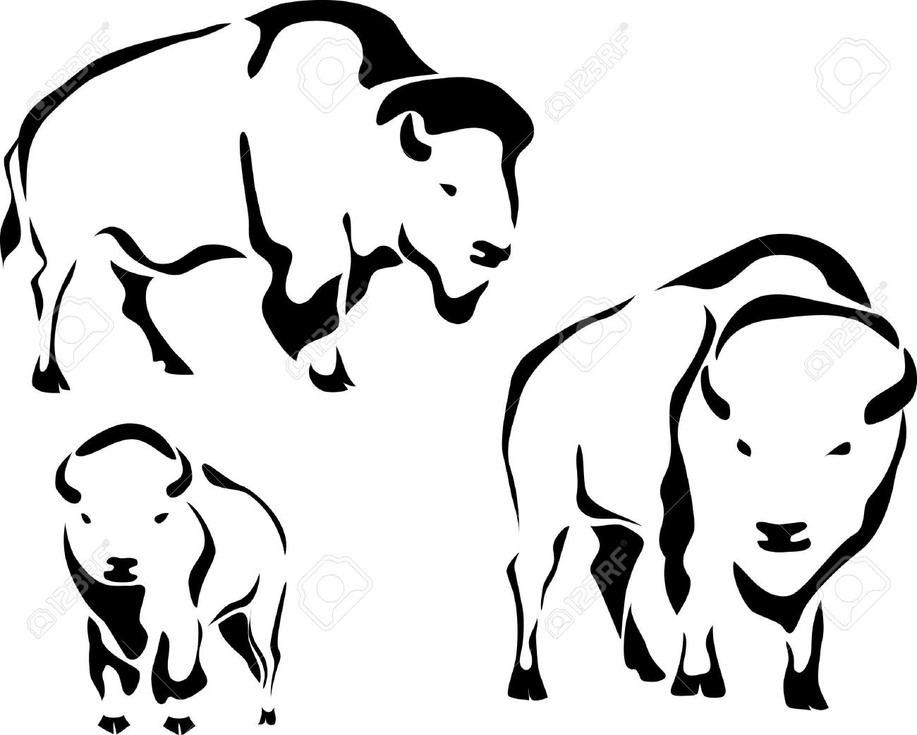 Bison clipart outline.