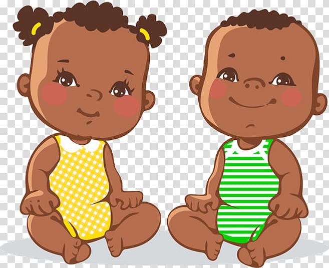 Twin , black girl transparent background PNG clipart.