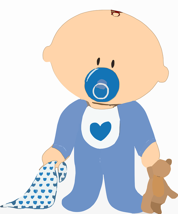 Free Vector Graphic: Baby Boy Teddy Blanket Soother.