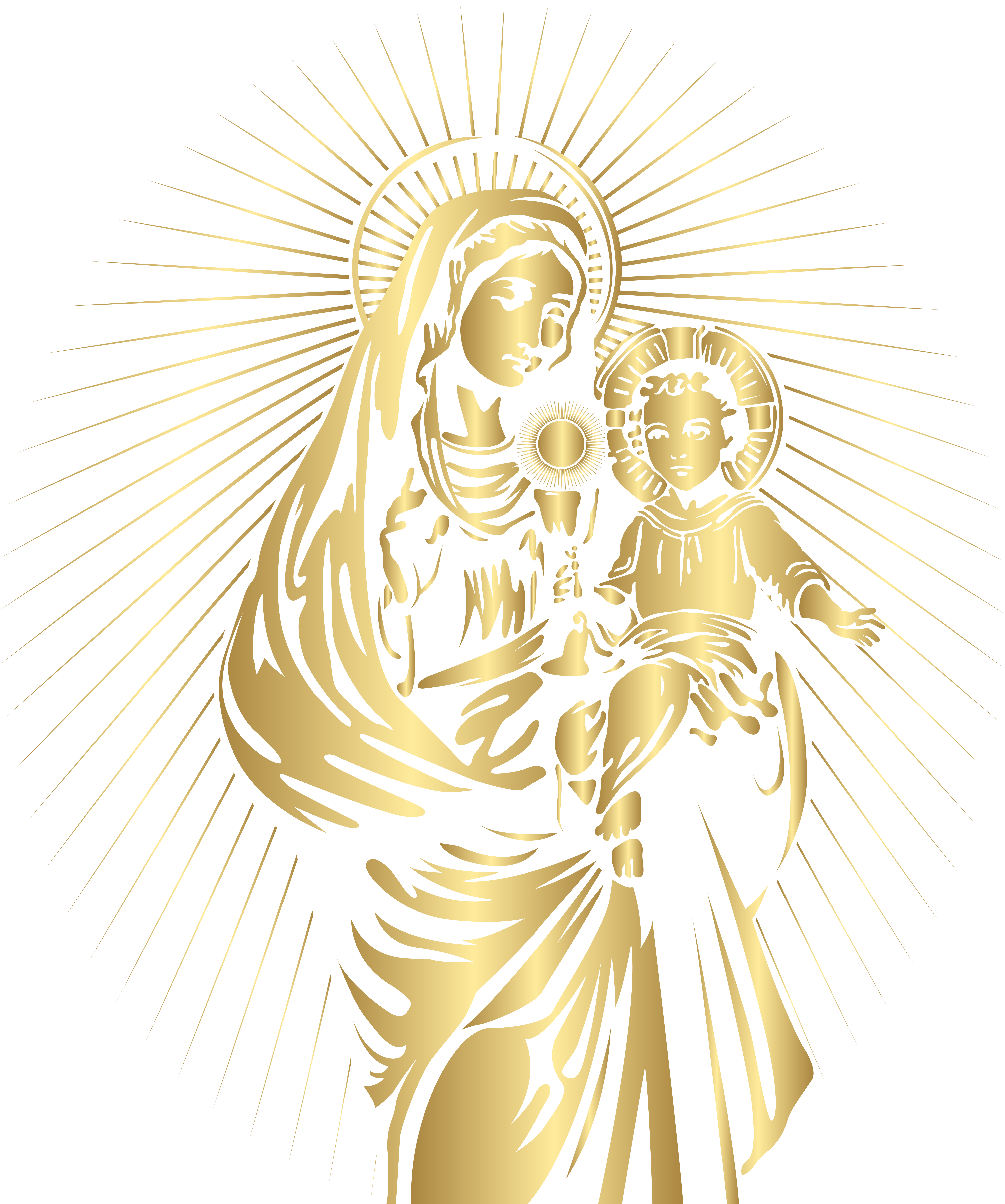 Blessed Virgin Mary and Baby Jesus PNG Clip Art.
