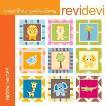 Clip art Sweet Baby Safari Blocks (animals) 07220.